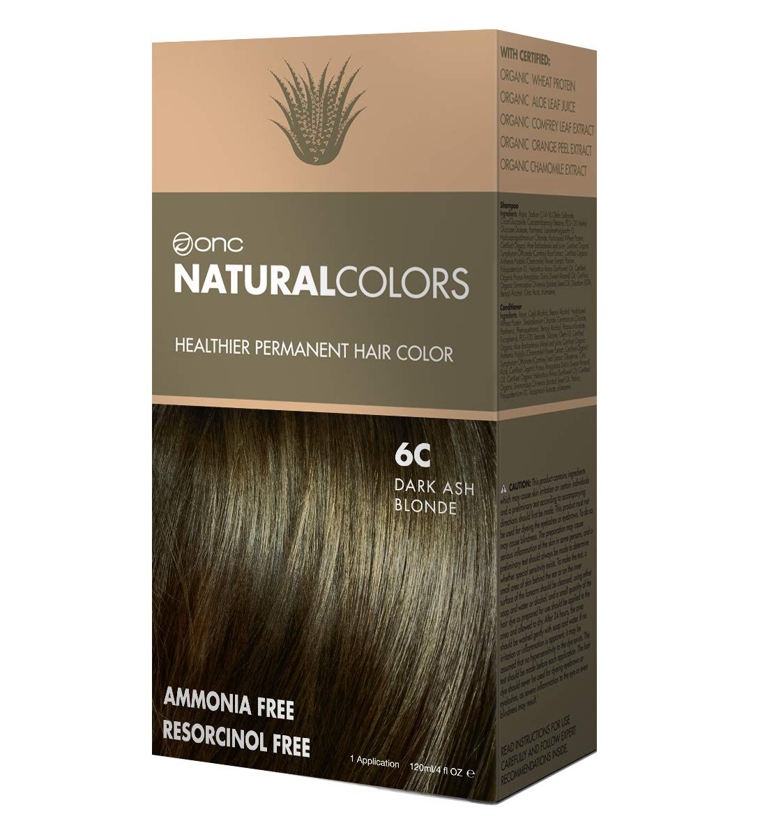ONC NATURALCOLORS 6C Dark Ash Blonde Healthier Permanent Hair Color - 120 ml (4 fl. oz.) | Ammonia Free, Natural Hair Dye, No Parabens - Premium Salon Quality by ONC