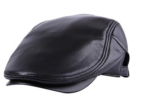 8c1ca831144 Men s Genuine Leather Warmth Flat Cap Adjustable Irish Ivy Newsboy Hat  Black-2