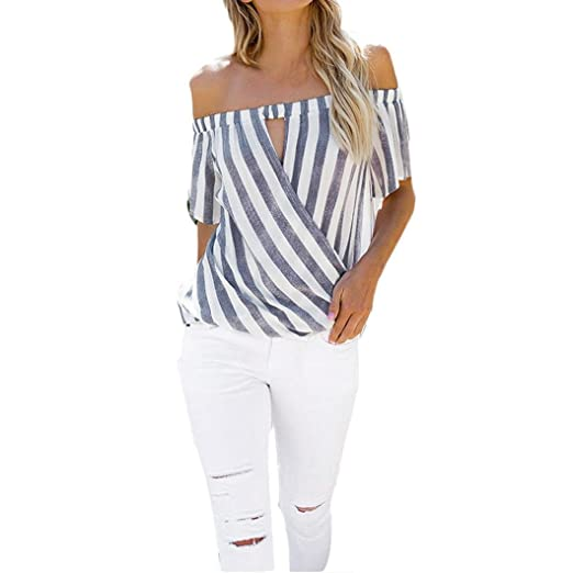 bae5ff303d1098 Howley Women s Striped Print Off The Shoulder Summer Crop T-Shirt Tunic Tops  Blouse (