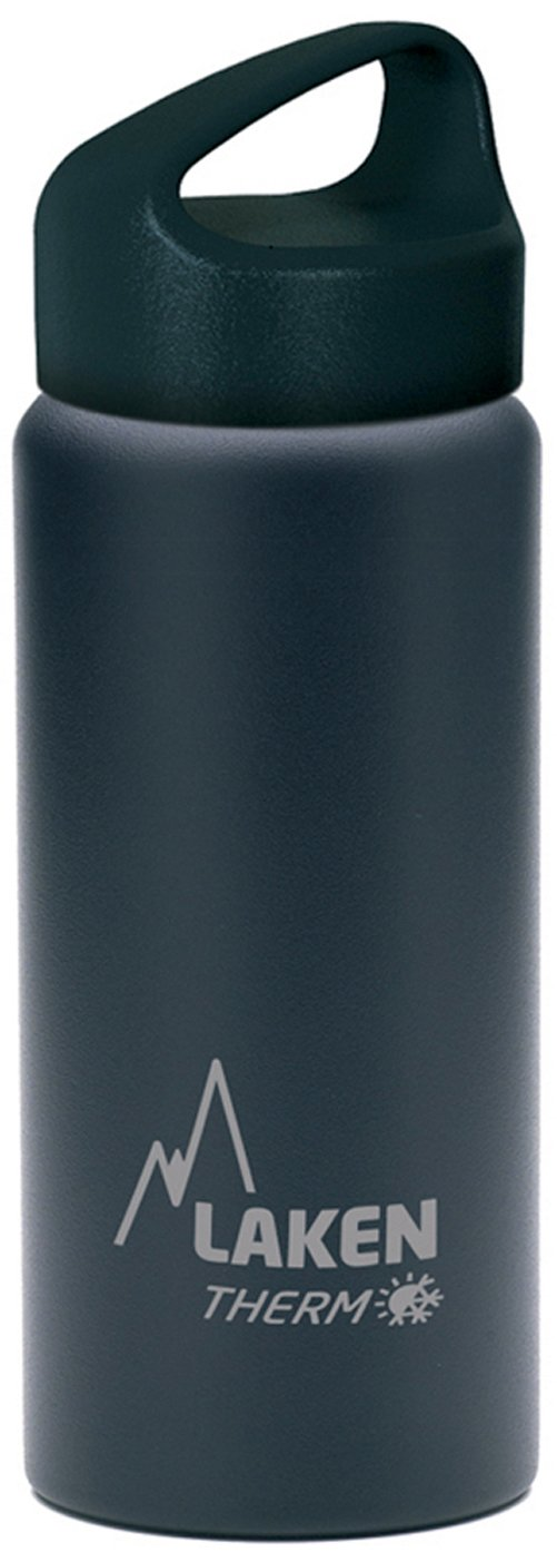 Laken Thermo Classic Vacuum Insulated Stainless Steel Wide Mouth Water Bottle with Screw Cap, 17 Oz, Black