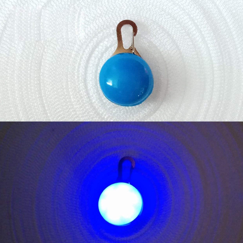 Blau YUIO 1 St/ück rundes Haustier Licht emittierendes Hundebrett Anti-Lost Bell Flash Haustier Hund Katze Welpe Led Sicherheit Nachtlicht Anh/änger