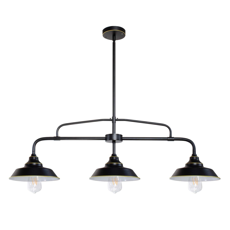 Black Pendant LightingFarmhouse 3-Light Kitchen Island Light with Metal Shades, Adjustable Hanging Height, Baking Paint Finish