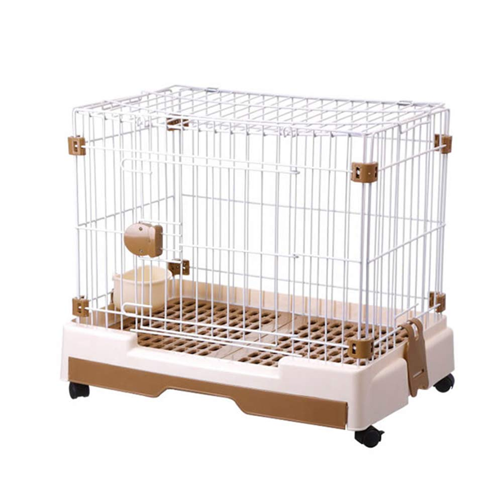 Brown M(79×53×60cm) Brown M(79×53×60cm) Pet Fence Dog Cat Cage, Portable Pet Supplies Single Door, Exercise Yard Kennel for Small Pets