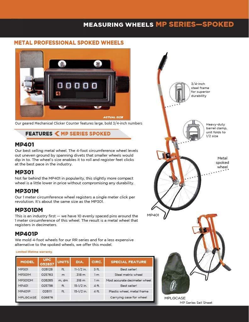 Renewed Graduations: ft. Keson MP401 Metal Frame Measuring Wheel with Spoked Wheel 15-1//2-Inch Diameter