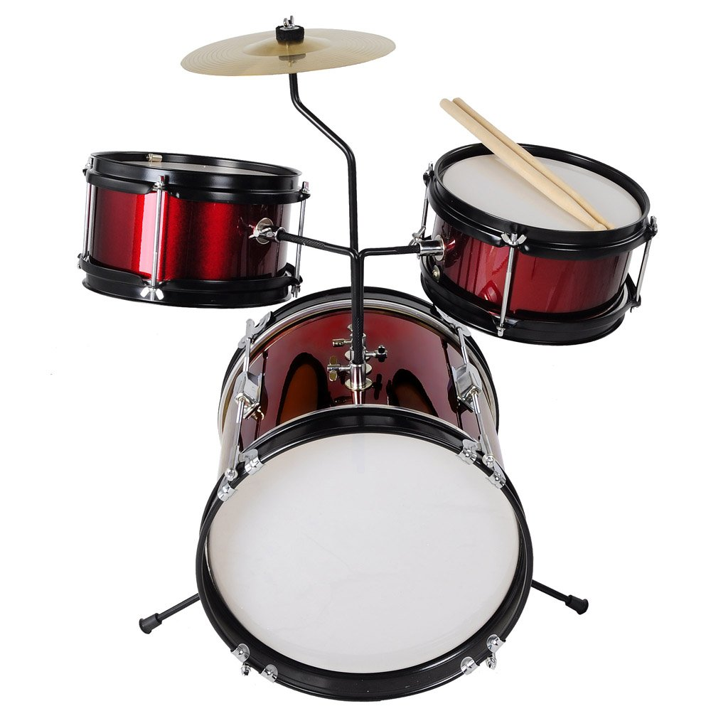 3pcs Junior Kids Child Drum Set Kit Sticks Throne Cymbal Bass Snare Boy Girl Red by AW (Image #3)