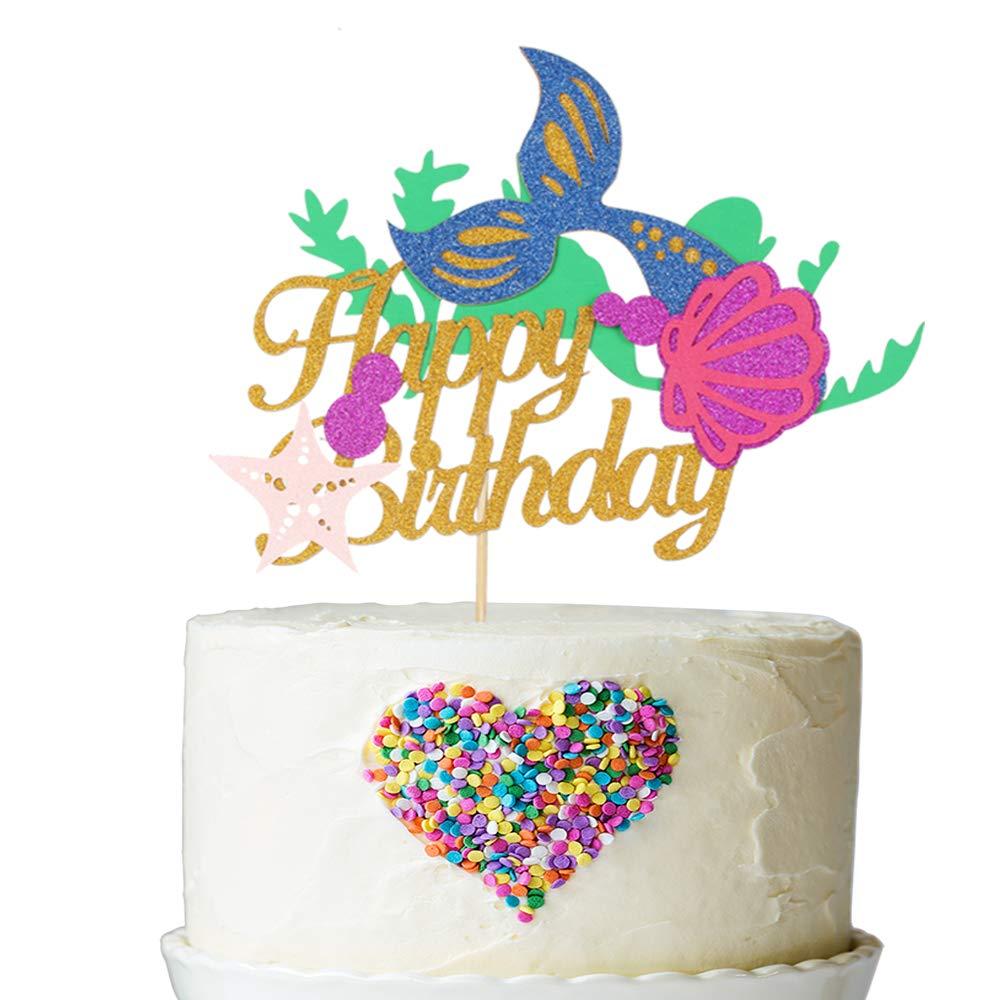 Amazon Mermaid Happy Birthday Cake Topper For Baby Shower Kids