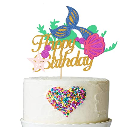 Image Unavailable Not Available For Color Mermaid Happy Birthday Cake Topper