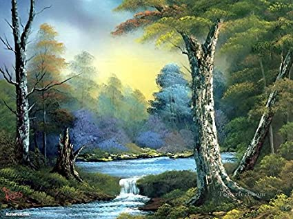 AKDGND Art Oil Painting Print On Canvas Water Bob Ross Freehand Landscapes Wall Decor For