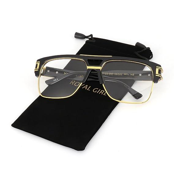 ffabc8eb728 Amazon.com  ROYAL GIRL Vintage Aviator Glasses For Men Luxury Oversize  Square Retro Classic Clear Lens Glasses (Black Frame