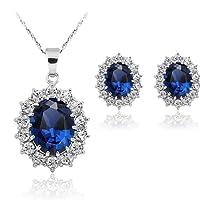 Stayeal - Conjunto de pendientes y collar con colgante de zafiro de color azul para mujer