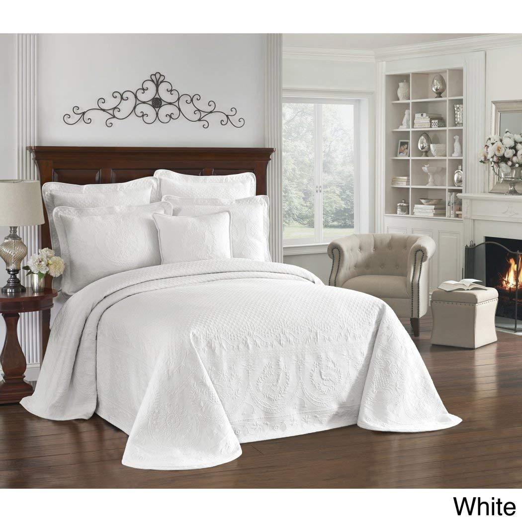 1pc 114 x 120ソリッドホワイトオーバーサイズベッドスプレッドKing床、コットン、ハングoverエッジ寝具Drops SideベッドフレームDrapes Large Extra Wide Long Matelasseクラシックモチーフパターン B0733ZBR3X