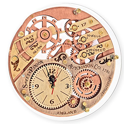 Cheap Skeleton 1733 HANDCRAFTED by WOODANDROOT transparent back decorative wooden wall clock, unique, personalized gifts, anniversary gift, large wall clock, home decor