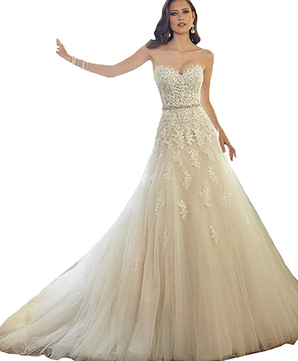 Champagne NOVIA Women's Sweetheart Lace Applique Beads Wedding Dress Long Bridal Ball Gown