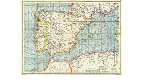 España. España y Portugal. Industrias y comunicaciones Old envejecido – 1907 Mapas de mapa vintage estampado de España: Amazon.es: Hogar