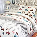 MeMoreCool Home Textile Cute Cartoon Cars Design Environmental Reactive Printing 100% Cotton White 4 Pieces Bedding Set Fashion Personality Kids Students Quilt Covers Soft Bed Sheets Full Size