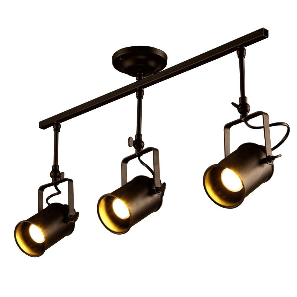 Vintage Matte Black Spotlight, Motent Industrial Retro Adjustable Metal Ceiling Lamp, Antique Flush Mounted Iron Wrought Minimalist Painted Track Lighting Fixture Set for Parlor Bar Cabinet - 3-Light