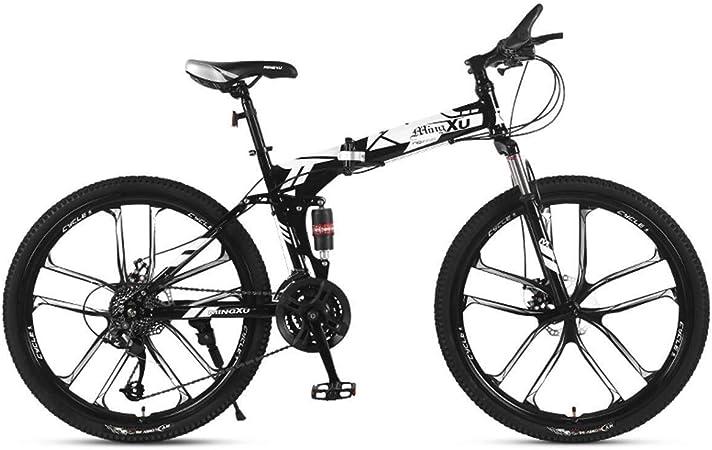 QZMJJ Off-Road Ciclismo, Bicicleta de montaña for niños Bicicletas Marco 21/24/27 Acero Velocidad de 26 Pulgadas y 10 Rayos Ruedas suspensión de la Bici Plegable, Rojo, 21speed: Amazon.es: Hogar