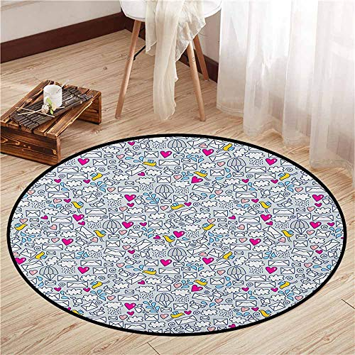 - Round Carpet,Doodle,Message Posting Theme Envelopes Mails Carrier Pigeons Pen Pals Ancient Communication,Door Floor Mat for Bedroom,2'3