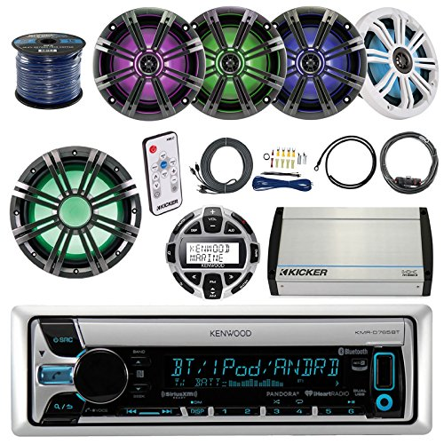 """Kenwood KMR-D765BT Marine Stereo Bundle With Remote Control + Kicker 10"""" LED Subwoofer + 4 Kicker 6.5"""" Multi Color LED Audio Speakers With Remote + 5-Channel Amp W/ Install Kit + Enrock 100ft Wire"""