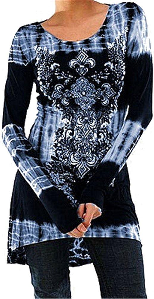 TALLA XXL. Mxssi Blusas Tallas Grandes Camisetas Góticas Vestidos Vintage Impreso Jersey Largo Cuello Redondo Blusas Manga Larga Blusas Largas Vestidos A-Línea Camisetas Trabajo S M L XL 2XL 3XL 4XL 5XL Azul Claro XXL
