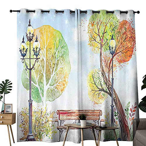 Marilec Windshield Curtain Lantern Decor Collection Colorful Fall Trees Wooden Bench Lantern in Park on Blue Sky Street Lamps Orange Yellow Green Light Blocking Drapes with Liner W108 xL84