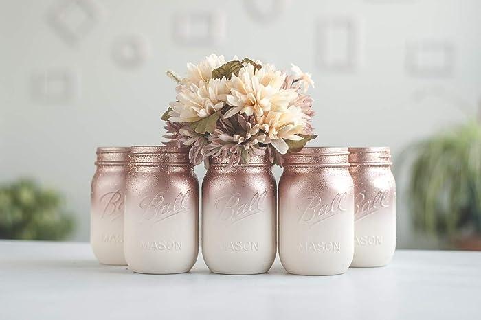 Amazon Com 6 Ombre Rose Gold Mason Jar Vases For Wedding