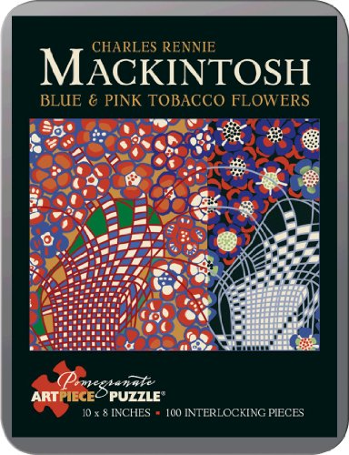 Charles Mackintosh - Blue & Pink Tobacco Flowers: 100 Piece Puzzle