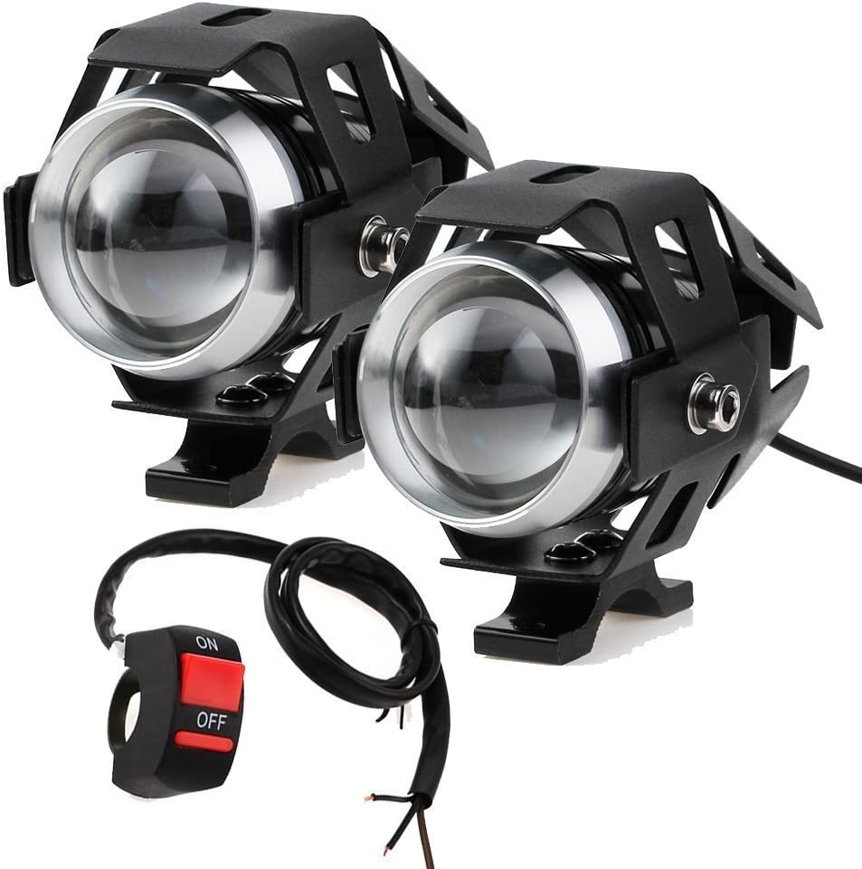 PROZOR Faros Delanteros para Motocicleta con Interruptor Universal de 3 Botones 2 Piezas Luz Delandera de Moto 15 W 3000 LM Cree U5 LED Antiniebla