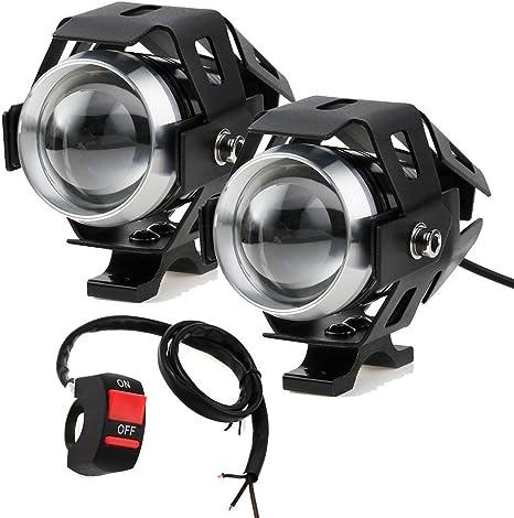 PROZOR 2PZ Luci Anteriori per Moto con Interruttore Lampada Antinebbia con Interruttore Universale 3 Pulsante 125W 3000LM CREE U5 LED Spotlight Faro per Motocicletta Argento