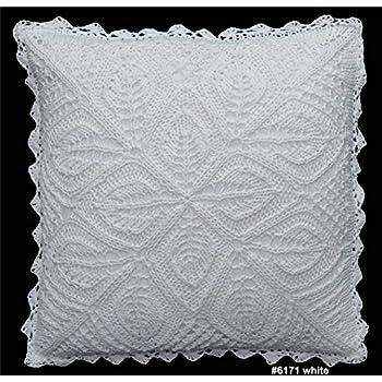 Amazon.com: Algodón Crochet encaje Cojín cover 16 x 16 ...