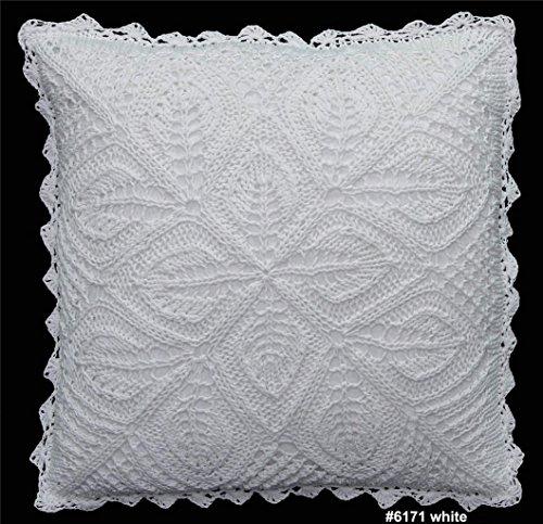 Creative Linens Cotton Crochet Pillow Cushion COVER 16x16