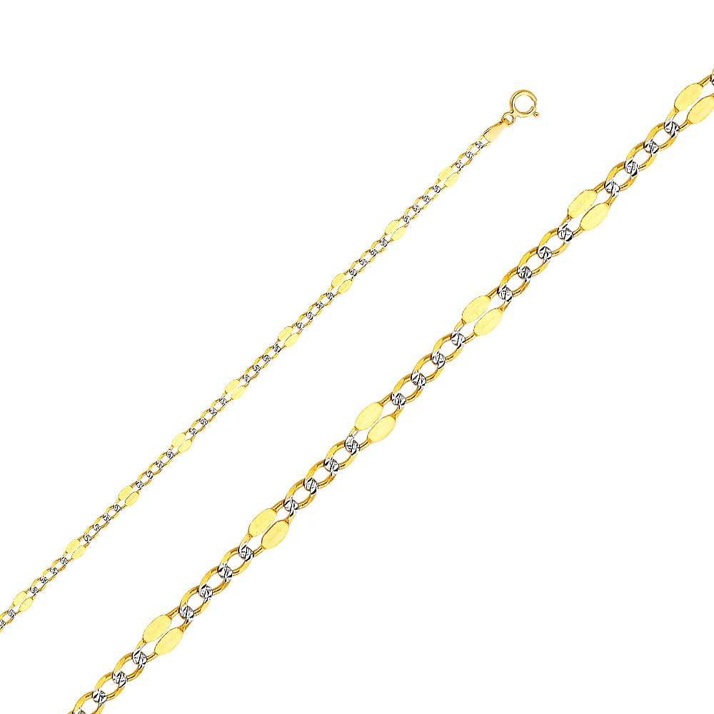 FB Jewels 14K White and Yellow Gold Two Tone Figaro White Pave Chain Necklace With Lobster Claw Clasp