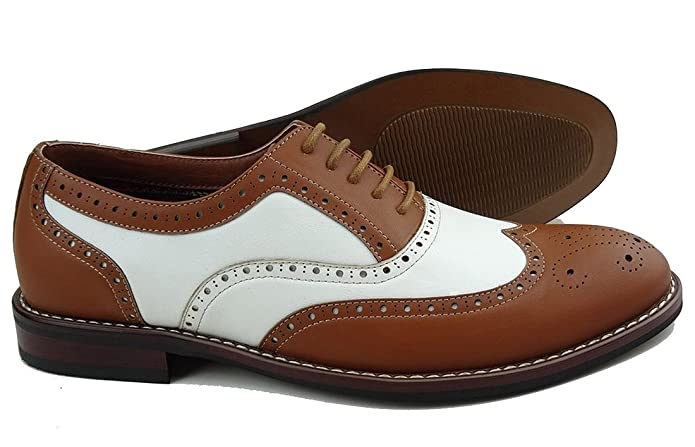 1940s Style Mens Shoes Ferro Aldo Mens Causal Wingtip Oxfords Modern Spectator Style  AT vintagedancer.com
