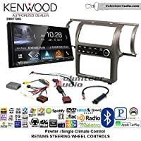 Volunteer Audio Kenwood DMX7704S Double Din Radio Install Kit with Apple CarPlay Android Auto Bluetooth Fits 2003-2004 Infiniti G35 (Pewter) (Single zone A/C controls)