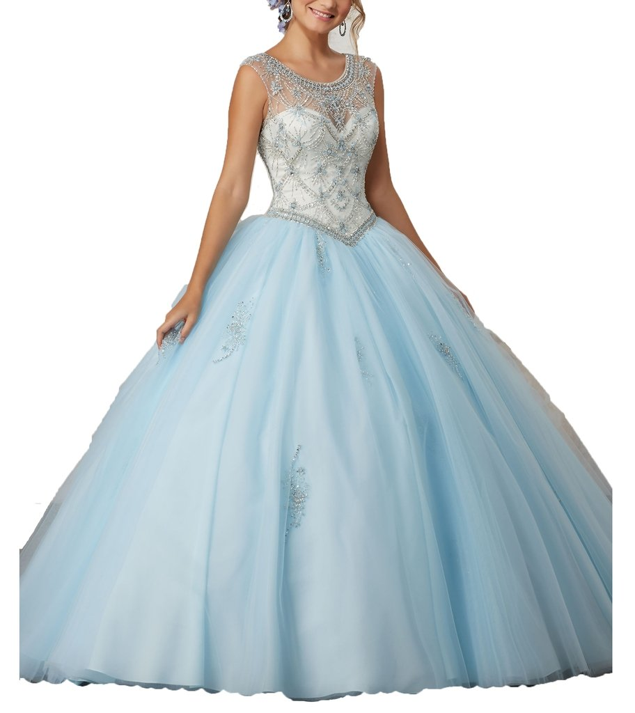 Wenli Juniors Crew Neck Ball Gowns Women Prom Quinceanera Dress 8 US Light Blue