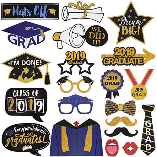 Graduation Photo Booth Props Class of 2019 Grad Glitter Photo Booth Props 2019 Graduation Party Decorations Supplies Pack of 21