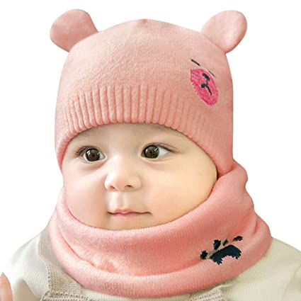 Amazon.com: kaiCran Newborn Baby Cartoon Cotton Cap Fetal Cap Beanie Hat with Scarf Two Piece Set (A): Clothing