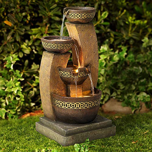 John Timberland Outdoor Floor Water Fountain Four Bowl Cascading Waterfall 41