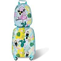 COSTWAY Equipaje Infantil Trolley Maleta de Viaje con Rueda Giratoria Mochila para Niños (Multicolor)