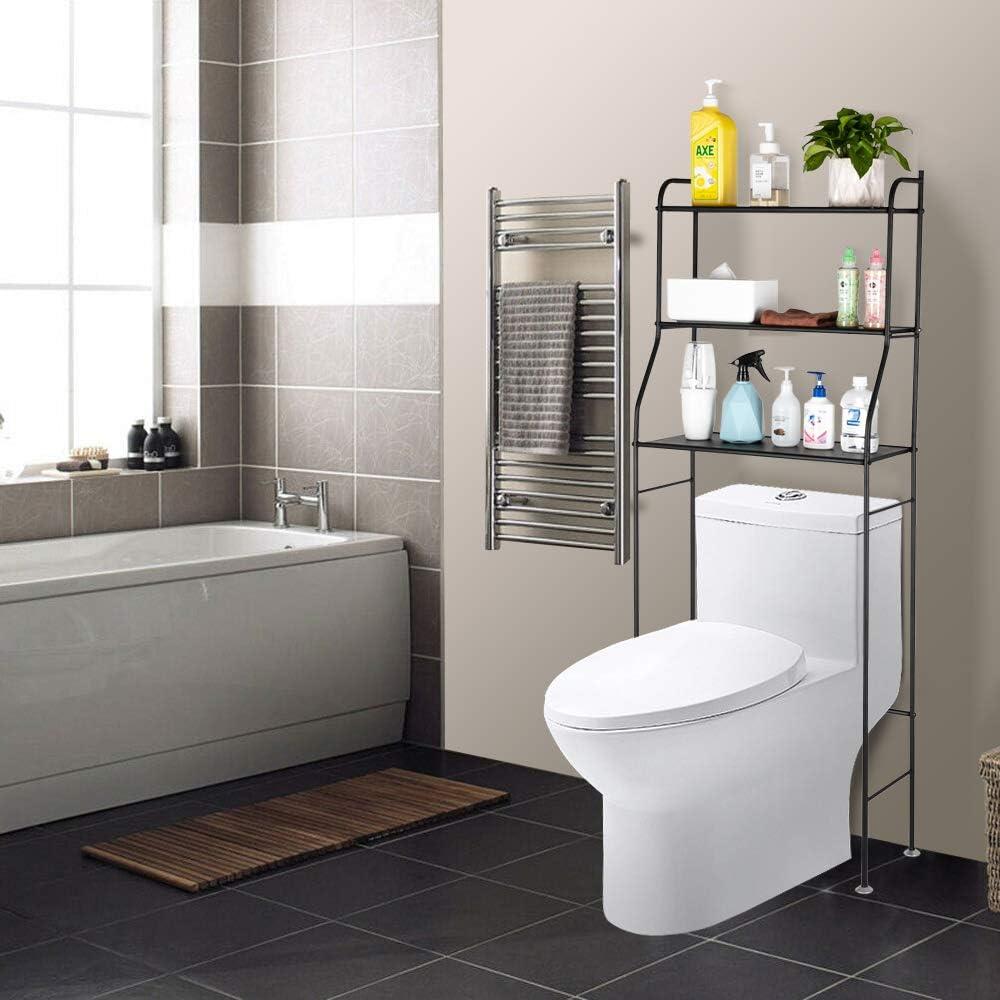 Amazon Com Bathroom Shelf Over The Toilet 3 Shift Bathroom Spacesaver Bathroom Storage Cabinet Organizer Bathroom Organizer Over The Toilet Type 2 White Kitchen Dining
