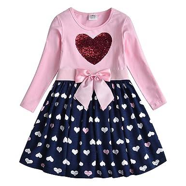 VIKITA Vestido para Niñas Algodón Princesa Primavera Otoño Casuales Bebe Niñas 1-8 años