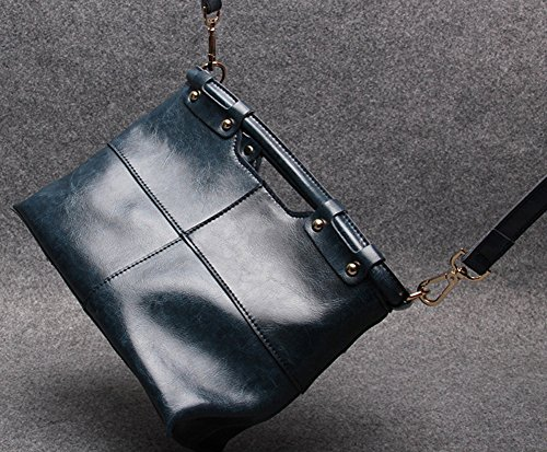 Vintage Cowhide Dark Blue Genuine Women's Shoulder Small QZUnique Leather Handle Style Top Cross Bag Body 4I5anRUqw