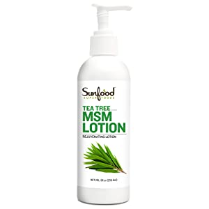 Sunfood Superfoods Tea Tree MSM Lotion | Enriched with 12% OptiMSM, Natural Vitamins & Organic Botanicals | Hypoallergenic- Free of Alcohol, Chemicals, Preservatives, Solvents & Parabens. 8oz Bottle