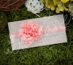 Ema Jane - Baby Hair Flower, Bow, and Headband Sets (Eyelet Laced Flowers on Lace Headbands (Mega Pack))