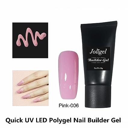 Joligel Gel Constructor Uñas Acrílicas UV LED Polygel No Hace Falta Guías, 2 Pasos Super