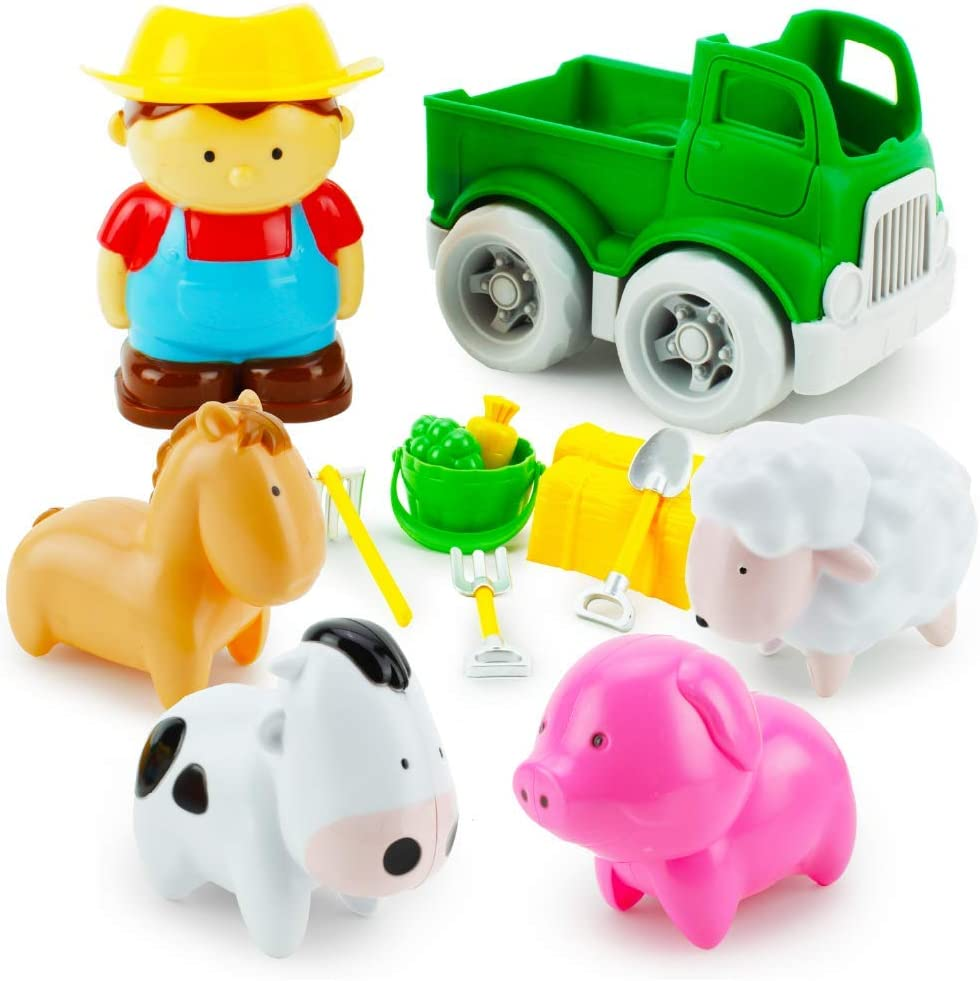 Boley Toddler Farm Animal Toys - 14 Piece Play Set with a Farmer Boy, Toy Truck, Barn Accessories and Farm Animals for Toddlers, Kids, Boys and Girls