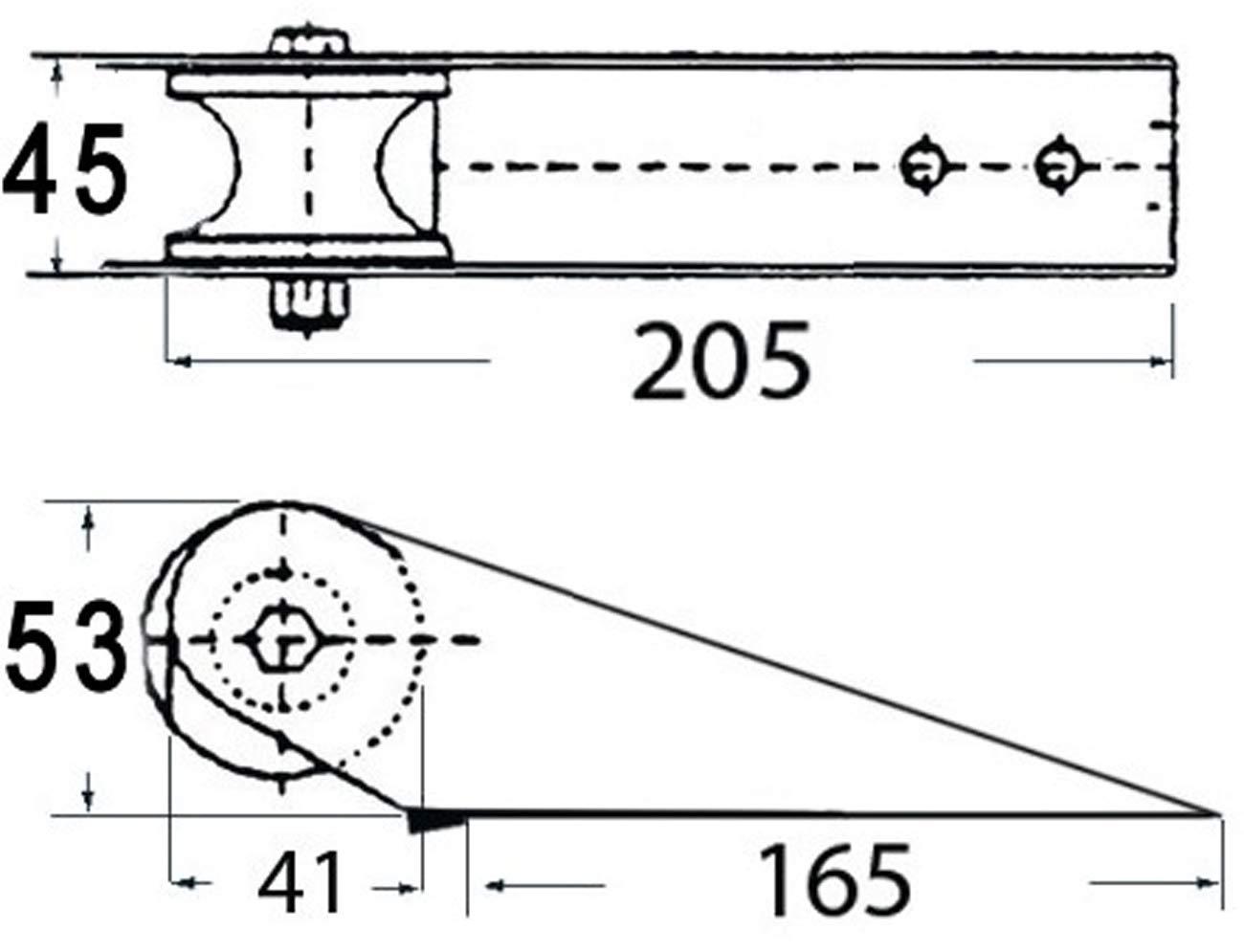 Osculati Edelstahl Bugrolle f/ür kleine Boote 205mm L/änge