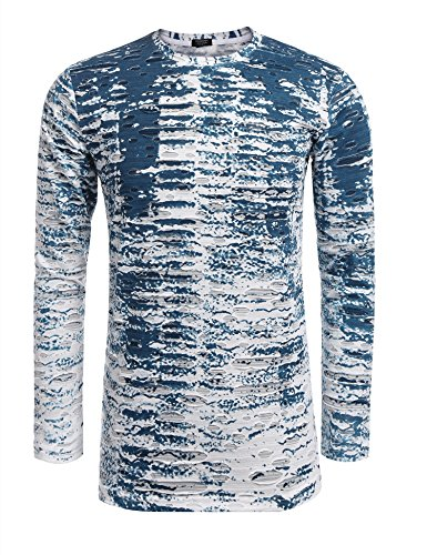 COOFANDY Mens Long Sleeve Hipster Hip Hop Basic T Shirt Gradation Ripped-Holes - Blue Gradation