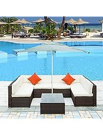 Merax 7 Piece Patio Furniture Set PE Rattan Sectional Garden Furniture  Corner Sofa Set(Beige