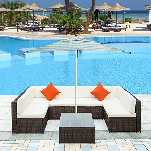 Merax. Patio Furniture Set PE Rattan Sectional Garden Furniture Corner Sofa Set (7 Pieces, Brown) (Furniture The To Patio Ground Low)